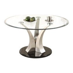 Homelegance - Homelegance Charlaine Round Glass Cocktail Table on Chrome Pillars - Three gracefully curved and tapered hand-rubbed brushed chrome pillars rise from round black bases to create the softened contemporary aura of the Charlaine collection. Round Cocktail table, round end table and semi-circular sofa tables are available to add a touch of high quality, clean and contemporary style to your living space.