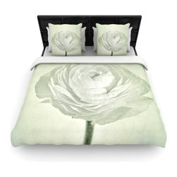 """Kess InHouse - Iris Lehnhardt """"Whity"""" Gray Floral Fleece Duvet Cover (Twin, 68"""" x 88"""") - You can curate your bedroom and turn your down comforter, UP! You're about to dream and WAKE in color with this uber stylish focal point of your bedroom with this duvet cover! Crafted at the click of your mouse, this duvet cover is not only personal and inspiring but super soft. Created out of microfiber material that is delectable, our duvets are ultra comfortable and beyond soft. Get up on the right side of the bed, or the left, this duvet cover will look good from every angle."""
