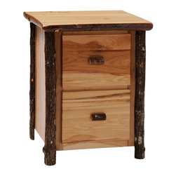 Fireside Lodge Furniture - Hickory 2 Drawer File Cabinet (Rustic Maple) - Finish: Rustic MapleHickory Collection. 2 Drawers. Full-extension glides rated at 100 pounds. Rods for hanging file folders. All Hickory Logs are bark on and kiln dried to a specific moisture content. Clear coat catalyzed lacquer finish for extra durability. 2-Year limited warranty. 27 in. W x 24 in. D x 34 in. H (110 lbs.)