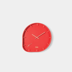 Two Timer Small - The irregular shape and bright color of this clock brings a shot of interest — and two time zones — to an office or kitchen.