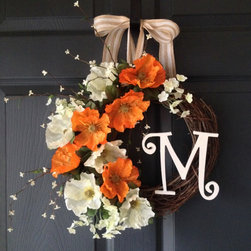 Poppy Monogram Wreath by HomeHearthGarden - A fantastic design spring wreath and summer wreath handmade with artificial Poppy flowers, and miniature white flowers. This is a great front door wreath is just the right size. This wreath will brighten your entry and provide a warm welcome to your family and friends.