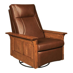 Chelsea Home Furniture - Chelsea Home Columbia Swivel Rocker Recliner - Pecan Leather - Lounge around your living room or office in this sleek Columbia Swivel rocker Recliner. Shown in White Quarter Sawn Oak and Michael's Cherry finish with a Pecan leather, this rocker is hand crafted to comfortable perfection that is sure to last years in your home. Customize your furniture's upholstery with standard or premium fabrics or a quality leather option. Chelsea Home Furniture proudly offers handcrafted American made heirloom quality furniture, custom made for you. What makes heirloom quality furniture? It's knowing how to turn a house into a home. It's clean lines, ingenuity and impeccable construction derived from solid woods, not veneers or printed finishes over composites or wood products _ the best nature has to offer. It's creating memories. It's ensuring the furniture you buy today will still be the same 100 years from now! Every piece of furniture in our collection is built by expert furniture artisans with a standard of superiority that is unmatched by mass-produced composite materials imported from Asia or produced domestically. This rare standard is evident through our use of the finest materials available, such as locally grown hardwoods of many varieties, and pine, which make our products durable and long lasting. Many pieces are signed by the craftsman that produces them, as these artisans are proud of the work they do! These American made pieces are built with mastery, using mortise-and-tenon joints that have been used by woodworkers for thousands of years. In addition, our craftsmen use tongue-in-groove construction, and screws instead of nails during assembly and dovetailing _both painstaking techniques that are hard to come by in today's marketplace. And with a wide array of stains available, you can create an original piece of furniture that not only matches your living space, but your personality. So adorn your home with a piece of furniture that will be future history, an investment that will last a lifetime.