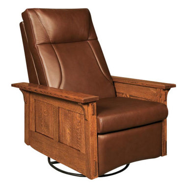 Chelsea Home Furniture - Chelsea Home Columbia Swivel Rocker Recliner - Pecan Leather - Lounge around your living room or office in this sleek Columbia Swivel rocker Recliner. Shown in White Quarter Sawn Oak and Michael's Cherry finish with a Pecan leather, this rocker is hand crafted to comfortable perfection that is sure to last years in your home. Customize your furniture's upholstery with standard or premium fabrics or a quality leather option. Chelsea Home Furniture proudly offers handcrafted American made heirloom quality furniture, custom made for you. What makes heirloom quality furniture? It's knowing how to turn a house into a home. It's clean lines, ingenuity and impeccable construction derived from solid woods, not veneers or printed finishes over composites or wood products _ the best nature has to offer. It's creating memories. It's ensuring the furniture you buy today will still be the same 100 years from now! Every piece of furniture in our collection is built by expert furniture artisans with a standard of superiority that is unmatched by mass-produced composite materials imported from Asia or produced domestically. This rare standard is evident through our use of the finest materials available, such as locally grown hardwoods of many varieties, and pine, which make our products durable and long lasting. Many pieces are signed by the craftsman that produces them, as these artisans are proud of the work they do! These American made pieces are built with mastery, using mortise-and-tenon joints that have been used by woodworkers for thousands of years. In addition, our craftsmen use tongue-in-groove construction, and screws instead of nails during assembly and dovetailing _both painstaking techniques that are hard to come by in today's marketplace. And with a wide array of stains available, you can create an original piece of furniture that not only matches your living space, but your personality. So adorn your home with a piece of furniture that will 