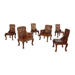 Used Carved Asian Teak Dining Chairs - Stunning set of 6 vintage Asian teak dining chairs. Sold teak construction throughout! Set consists of four side chairs without arms and two arm chairs. Elaborately carved with dragons, botanical forms and human figures at center. Chairs are carved on back and front sides. Spanners are etched with a decorative motif. Legs mimic that of an animal with lion like feet. These are sure to be showstoppers in your home. Chairs come as pictured. Consider having custom cushions made for the seats to aid in comfort and compliment your decor.