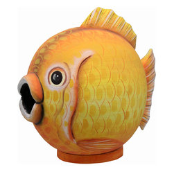 Songbird Essentials - Goldfish Gord-O Birdhouse - Songbird Essentials adds color and whimsy to any garden with our beautifully detailed wooden birdhouses that come ready to hang under the canopy of your trees. Hand-carved from albesia wood, a renewable resource, each birdhouse is hand painted with non-toxic paints and coated with polyurethane to protect them from the elements. By using all natural and nontoxic components Songbird Essentials has created a safe environment complete with clean-out for our feathered friends.