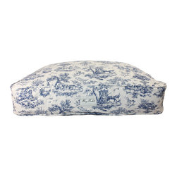 Medium Toile Pet Bed, Blue - From the Harry Barker Collection, this beautiful toile pattern pet bed is pretty enough to leave out. 100% cotton canvas bed cover. Hypoallergenic, pre-washed and pre-shrunk. Bed inserts are channel quilted with eco-fiberfill. Machine washable. Medium rectangle.