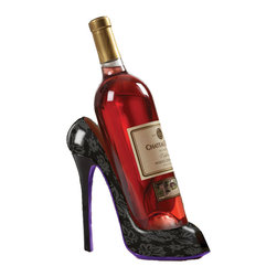 Meridian Point At Home - High Heel Shoe Wine Bottle Holder - Add elegant styling to your home with this wine bottle holder in the shape of a high heel shoe. Holds a standard 750ml bottle of your favorite wine (Wine Not Included).  Looks great on your counter-top and makes a great gift.  Black pattern design with purple base.
