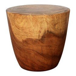 Kammika - Oval Drum Sustainable Wood 20 in D x 18 in H w Eco Friendly Livos Walnut Oil Fin - Our Sustainable Monkey Pod Wood Oval Drum 20 inch Diameter x 18 inch height in Eco Friendly Natural, food-safe Livos Walnut Oil Finish End Table is a fun piece that tapers from its top to its base, just like its namesake. It will add character to any room of your home, as well as serve a very functional purpose. Picture it as an end table, display stand, or stool. It is sure to be a real conversation piece. Allowed to dry and crack naturally, each is hand carved - no two are alike. Monkey Pod Wood (Acacia, Koa, Rain Tree) grown for wood carving is rubbed in eco friendly Livos natural Walnut tone oil creating a water resistant and food safe matte finish. Color ranges from medium to dark Walnut brown tones that will darken as the wood ages. There is no oily feel; and cannot bleed into carpets, as it contains natural lacs. Hand crafted from a sustainable Monkey Pod wood species, we make minimal use of electric hand sanders in the finishing process. All products are dried in solar and or propane kilns. No chemicals are used in the process, ever. We use only eco friendly, natural, and food-safe finishing oils. This impressive eco friendly sustainable wood functional art piece is finished by hand rubbed Livos all natural oil, and then is packaged with cartons from recycled cardboard with no plastic or other fillers. Made from the branches of the Acacia tree in Thailand - where each branch is cut and carved to order (allowing the tree to continue growing), the wood is kiln dried, carved and sanded by local Thai artisans. As this is a natural product, the color and grain of your piece of Nature will be unique, and may include small checks or cracks that occur when the wood is dried. Sizes are approximate. Products could have visible marks from tools used, patches from small repairs, knot holes, natural inclusions or holes. There may be various separations or cracks on your piece whe