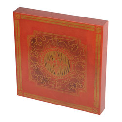 Brandi Renee Designs - Red & Gold Ivy Floral Design Handpainted Wall Art, Wood Tile - This gorgeous hand painted piece is a beautiful art tile in gold and bronze with copper leaf scroll adornment.