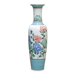 China Furniture and Arts - Hand Painted Jin De Zheng Vase - Jingdezhen is the capital of porcelain in China for more than two thousand years. The artists there reached artistic and firing technique maturity by Jin Dynasty around 583 AD. Throughout history, products from Jingdezhen kilns was the official source of porcelain for the court. Well-known for its signature fine smooth surface, our tall vase has striking Chinese peony blossoms hand-painted all around it. This vase is ideal for making a forgotten space into an interesting corner in your home.