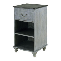 "Currey and Company - Whitmore Night Stand - Crafted from wood, slight variations in tone and texture are common. The finish is Burnt Coal/Vintage Steel. Avoid positioning your furniture near a source of direct heat. Wood is ""living"" and changes in temperature can result in cracking. We recommend placing the piece a minimum of three feet from any heat source. For everyday care, dust with a clean dry cloth. Wipe spills immediately with soft dry cloth. Always use coasters or mats. Never place cups, glasses or anything hot directly on the surface. This could cause discoloration."