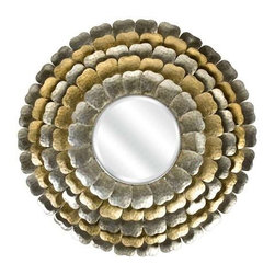 Andorra Metal Petal Wall Mirror - Andorra Metal Petal Wall Mirror brings the outdoors in with a modern twist. The gold and silver petals make this mirror perfect for any room.