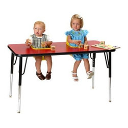 2 Seat Toddler Activity Table - Multi-functional furniture is key for any daycare or preschool and the 2 Seat Toddler Activity Table helps you get the most out of your precious space. With two molded-polyethylene seats mounted within a heavy-duty wood-laminate table with high-impact molding you now have the space for mealtime crafts and any other activities that you may need to keep your toddlers busy and happy. Each seat features sturdy safety belts and can be easily removed when the time comes for them to be cleaned. The wood-laminated tabletops are easy to clean and come mounted on heavy-duty metal legs that can be adjusted from a height of 19 to 27 inches. Both the seats and tabletops are available in your choice of colors. These seats are recommended for children ages 5 to 24 months.About Toddler TablesAlmost 30 years ago Toddler Tables founder and church minister Glenn Holland got to work in his garage to fix a problem that he saw every Sunday. He noticed that parents with young children spent more time holding their children than they did being involved in the congregation. With an idea in mind he set out using the best materials and production methods available to help care for the children and assist the parents in his congregation. Holland's hard work paid off when he developed the first Toddler Table. With the seat mounted into the top of the table he was able to provide caregivers with more flexibility in their jobs and gave the children a safe and comfortable way to interact with other children. Before long Holland's new product began making waves in the child care industry and what was once being built in a garage is now produced in the Toddler Tables manufacturing facility in Raleigh North Carolina. Toddler Tables has become a symbol of commitment to the child care industry and even though they've grown beyond Holland's garage their attention to safety and quality are still available to every preschool Sunday school and daycare that cares just as much about the needs of the children they serve.