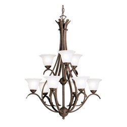 BUILDER - BUILDER Dover Transitional Chandelier X-ZT0252 - The Kichler Lighting Dover Transitional chandelier superbly blends rustic and traditional styles for distinct, yet entirely elegant, lighting fixture. It features a remarkable hand-wrought steel frame with tannery bronze finish. The etched seedy glass shades provide a perfectly bright and warm light to the room.