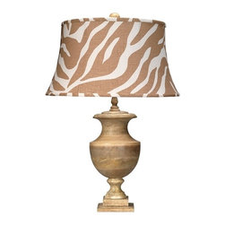 Jamie Young Lighting Lamp Base, Low Country Lee Urn, Natural - I adore this zebra-print linen shade on the Jamie Young lamp!