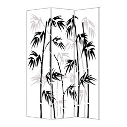 Bamboo Leaf Screen - Double vision: Both sides of this graphically striking canvas screen give you a different, but equally attractive, perspective. And that, in turn, offers you the option of refreshing the look of your room, simply by turning the screen around.