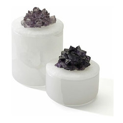 Small Amethyst Cluster Box - Use the taller box to house Q-tips on your vanity or dresser in style and the smaller one to keep your rings and earrings close by.