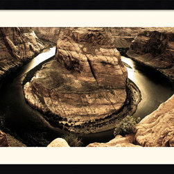 Amanti Art - Horseshoe Bend Framed Print by Andy Magee - The Colorado River has carved a horseshoe around this tenacious mass of sandstone.  A perfect print for the aficionado of natural beauty and a inspiration to those who stand firm against the status quo.
