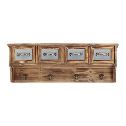 Country Cabinet Rack - A classic cabinet gets a new role with a row of hooks. For hanging the essentials in your bath, like towels and clothes, to keep things off the ground. Four additional drawers stash away the extras.