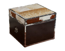 Great Deal Furniture - Arkansas Cowhide Top Leather Storage Ottoman - The Arkansas cowhide storage ottoman offers a whimsical cowhide exterior with ample hidden storage space. Use it as extra seating, display, storage, or even as an accent table.