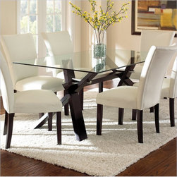 Steve Silver Company Berkley Dining Table in Espresso with Clear Glass Top -