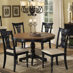 Hillsdale Furniture - Hillsdale Embassy 5 Piece Dining Room Set w/ Wood Top - Featuring the classic combination of our Rubbed Black finish with cherry table top  our Embassy dining collection is one of our crown jewels. Rich in traditional design  the woven laced wood back and tall rectangular chair silhouette combined with the graceful pedestal table base creates the impression of timeless elegance. Complete with a coordinating sideboard for attractive work  serving  or display space  and matching swivel stool seating  available in both bar and counter height  this collection is sure to make a statement in your kitchen or dining room.