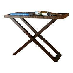 Pfeifer Studio - Narrow Console - This is not your grandmother's TV dinner tray table! Narrow, foldable and handsome, this console table is made of Margosa wood and tobacco brown leather. Lightweight and compact it can be hidden or left out and used regularly.