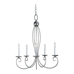 """Sea Gull Lighting - Sea Gull Lighting 31074 Wrought Iron 5 Light Up Lighting Chandelier from the Pem - Subtle flecks of color bring this hand painted peppercorn finish to life or Sweeping curves in brushed nickel finish - a soft, contemporary touchOverall Height with Chain: 152"""", 12 feet of wire pre-laced through 10 feet of chain5 60w Candelabra Base Required (Not Included)"""