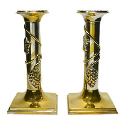 Lavish Shoestring - Consigned 2 Silver Plated Brass Candlesticks, English Victorian, 19th Century - This is a vintage one-of-a-kind item.
