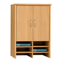 """Bush Business - 30 in. Storage Hutch in Light Oak - Series C - The attractive, contemporary styled Light Oak Series C Storage Hutch sits atop our 30 inch storage cabinet and features two concealed adjustable shelves.  Just below doors employing European-style, self-closing, adjustable hinges are six spaces for work-in-process or supplies. * Sits atop Storage Cabinet 30"""" for additional storage capacity. PVC edge banding resists bumps and collisions. Two adjustable shelves in concealed area provide storage flexibility. Six spaces for work-in-process or supplies. European-style, self-closing, adjustable hinges. 29.449 in. W x 15.354 in. D x 42.992 in. H"""