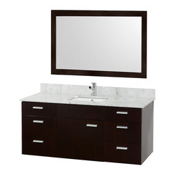 Wyndham Collection - Bathroom Vanity Set with Storage Space - Includes one bathroom vanity, one white porcelain square undermount sink, drain assemblies, P traps, 4 in. backsplash and matching mirror. Faucet not included. White Carrera marble top marble. One functional door. Six functional drawers. Plenty of counter space. 8 stage preparation, veneering and coloring process. Water resistant sealed color. Cutting edge and unique styling. Modern wall mount design. Fully extending under mount soft close drawer slides. Concealed soft close door hinges. Single hole faucet mount. Metal exterior hardware. Made from wood, marble and MDF. White, espresso and brushed chrome color. Minimal assembly required. Care Instruction. Vanity: 52 in. W x 22 in. D x 23.5 in. H. Mirror: 46 in. W x 33 in. H