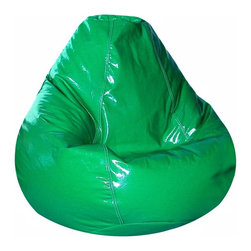 Elite Products - Wetlook Adult Bean Bag - This adult size green wetlook bean bag is made of a durable poly cotton print fabric with double stitching.  With a double zippered bottom for added security, this bean bag is sure to be long lasting. * Long lasting and durable. Double stitched with double overlap folded seam. Double zippered bottom for added security. Childproof safety lock zippers (pulls have been removed). Can easily be refilled by an Adult. Light, convenient to move and store. Easy to Clean. Recommended seating for all ages. Warranty: One year limited. Made from PVC vinyl and polystyrene bead. Made in USA. No assembly required. 33 in. L x 32 in. W x 33 in. H (8 lbs.)
