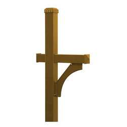 Salsbury Industries - Salsbury In-ground Deluxe Brass-finish Mailbox Post - This deluxe mailbox post features a brass finish that is powder coated for durability and is able to be mounted in-ground. It can accommodate rural mailboxes attractively.