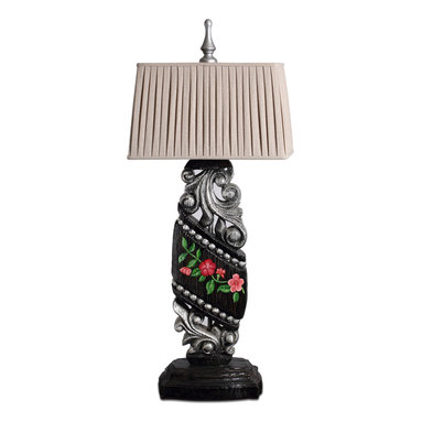 Hand Painted Oriental Style Wooden Table Lamp - This desk lamp is made of quality solid wood, handmade hollow-out carving. It has basic black and silver painting finish, red and pink flower and green leavies.It is not just a lamp for bringing you lights, but also a perfect decor for your living room or bedding room. Oriental Style Table Lamp with Solid Wood Carving Base and Colorful Painting Finish