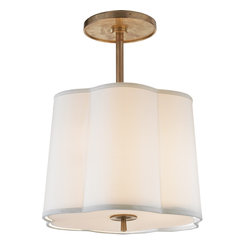 Simple Scallop Pendant | Circa - Just a hint of brass hardware keeps this pendant looking chic and on trend. It' s the perfect contrast to the scalloped silk shade. Hang this in a kitchenette or small dining room for an elegant alternative to a formal chandelier.