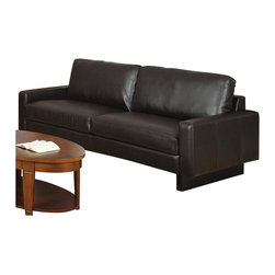 Coaster - Coaster Ava Contemporary Leather Sofa with Platform Legs in Brown - Coaster - Sofas - 504481 - Modern and minimalist, this stationary sofa is perfect for your contemporary-style home. With low track arms and front-to-back platform wood legs, this 2-over-2 cushion sofa brings a crisp, clean, and updated look to any room in your home. Its bonded leather seats are soft and supple, while pocket coil seating and a sinuous spring base is consistently supportive and durable.
