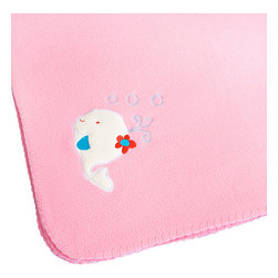 "Blancho Bedding - White Whale - Pink Embroidered Coral Fleece Baby Throw Blanket  29.5""-39.4"" - The Embroidered Applique Coral Fleece Baby Kids Throw Blanket measures 29.5 by 39.4 inches. Whether you are adding the final touch to your bedroom or rec-room, these patterns will add a little whimsy to your decor. Machine wash and tumble dry for easy care. Will look and feel as good as new after multiple washings! This blanket adds a decorative touch to your decor at an exceptional value. Comfort, warmth and stylish designs. This throw blanket will make a fun additional to any room and are beautiful draped over a sofa, chair, bottom of your bed and handy to grab and snuggle up in when there is a chill in the air. They are the perfect gift for any occasion! Available in a choice of whimsical kid-friendly prints to spark the imagination, the blanket is durable enough to look great on the go."