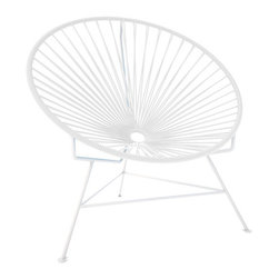 Innit Chair, White Frame, White - A tripod metal base cradles this classic woven vinyl chair design. The modern look is ideal for outdoor use as it's weatherproof and easy to clean, but it's just as stylish inside your home. Pick from a rainbow of colors to add the perfect pop of color or stick with the classic black and white combination.
