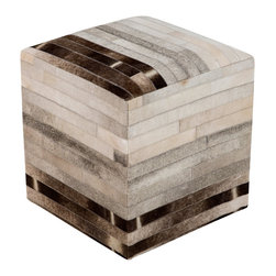 Surya - Surya Linear Gray Leather Pouf - The modern Surya Linear pouf delivers a purely posh presence. In classic neutrals, the foot rest's subtle stripe pattern elicits simplistic geometric intrigue. 100% leather; Shades of brown, black, gray and cream.