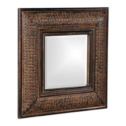 Howard Elliott - Grant Antique Brown Square Mirror - Our Grant Mirror features a Antique Brown with Textured Copper Metal Overlay on a wood frame. Antique Brown with Textured Copper Metal Overlay. Mirror Size: 12 in. x 12 in.. 23 in. x 23 in. x 2 in.