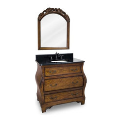 Lyn Design - Bombe Vanity w Mirror - Faucet not included. Traditional style. 0.99 in. black granite top. Faucet holes cut for 8 in. spread. 0.79 in. x 4 in. backsplash. Three fully working drawers. Middle drawer fitted around plumbing. Patented full bottom drawer for towels and linens. Drawers equipped with ball bearing slides. Patented fully functional top drawer that contains storage areas on both sides of the bowl. Hand-carved botanical details. Mirror is crowned with additional carved leaf. Beveled glass. Made from birch solid wood and burl veneers. Walnut finish. Bowl: 15 in. W x 12 in. H. Vanity with top: 34 in. W x 21.5 in. D x 33.75 in. H. Mirror: 26 in. W x 32 in. H