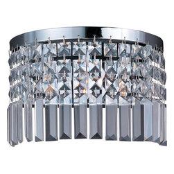 Joshua Marshal - Three Light Polished Chrome Beveled Crystal Glass Wall Light - Three Light Polished Chrome Beveled Crystal Glass Wall Light
