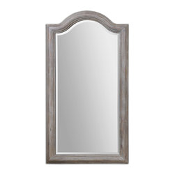 """Uttermost - Uttermost 13862 Conklin Carved Wood Arch Mirror - 68"""" Length - Carved Sold Wood in Natural Finish w/ Light Gray Wash Mirror is Beveled Ships via Truck Freight"""