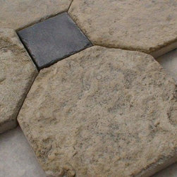 Aged Jerusalem Stone Octagons with Inlays - Aged Jerusalem Stone 10 inch Octagons with 4 inch inlays.  This is a custom cut and custom finished stone product made of newly quarried Jerusalem stone.