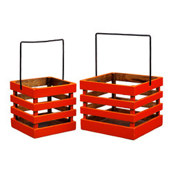 Antique Revival - Orange 2 Piece Dovecott Bucket Set - This wooden Dovecott bucket set includes two buckets that fit into one another. The caddy-style buckets include iron handles and solid pine contruction. The buckets make a great accent piece on their own, or to display decorative items. Item is newly made.