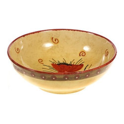 "Ceramic - Poppies of Tuscany 8"" Ceramic Bowl, 12"" - Poppies of Tuscany 12"" Ceramic Bowl"