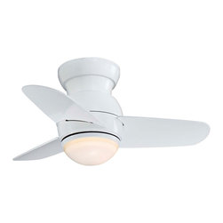 "Minka Aire - Contemporary 26"" Minka Aire Spacesaver White Hugger Ceiling Fan - The Spacesaver ceiling fan from Minka Aire offers contemporary styling and superb air circulation. The white finish of the motor offers a clean look and the hugger mount makes it a good choice for lower ceilings. Three matching blades orbit the smooth rounded motor housing while the integrated light kit glows with etched opal glass. This fan is a great fit for variety of decor styles and an especially great choice for lofts and urban apartments. White finish. Hugger mount. Integrated etched opal glass light. Includes one 50 watt mini-can halogen bulb. 26"" blade span. 14 degree blade pitch.  White motor finish.  Hugger mount.  Integrated etched opal glass light.   One 50 watt mini-can haolgen bulb included.   3-wire installation wall control included.   26"" blade span.   14 degree blade pitch.  Fan height 8"" ceiling to blade.   Fan height 11"" ceiling to bottom of light kit."
