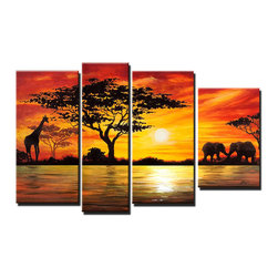 Fabuart - African Landscape Canvas Painting - 52 x 30in- 4 Piece - This beautiful art is 100% hand-painted on canvas by one of our professional artists. Our experienced artists start with a blank canvas and paint each and every brushstroke by hand.
