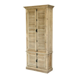 Kathy Kuo Home - French Country Reclaimed Wood Louvered Door Hutch Cabinet - Slatted doors and handsome hardware make this wooden hutch the perfect addition to your home. It offers ample storage with classic style, to hold linens, dishware, whatever.