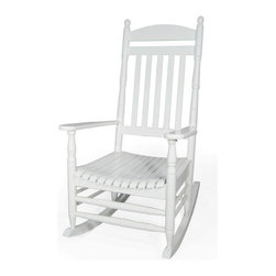 International Concepts - Solid Wood Porch Rocker in White Finish - Made of solid wood. Assembly required. 34.38 in. W x 29.25 in. D x 47.25 in. H (24.7 lbs.). Seat height: 17.5 in.